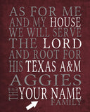 "Texas A&M Aggies inspired Personalized Customized Art Print- ""As for Me"" Parody- Unframed Print"