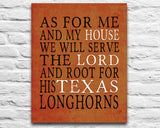 "Texas UT Longhorns inspired Personalized Customized Art Print- ""As for Me"" Parody- Unframed Print"