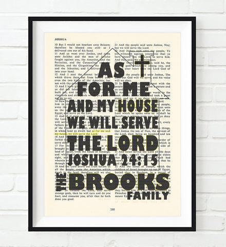 As for Me and My House - Joshua 24:15 Personalized Vintage Bible Page ART PRINT