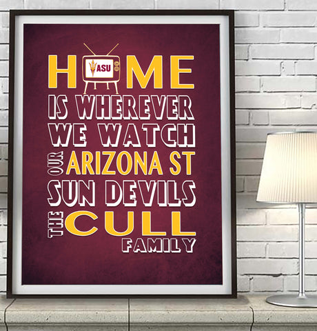 "Arizona State Sun Devils Personalized ""Home Is"" Art Print Poster Gift"