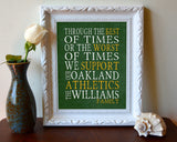"Oakland Athletics Baseball Personalized ""Best of Times"" Art Print Poster Gift"