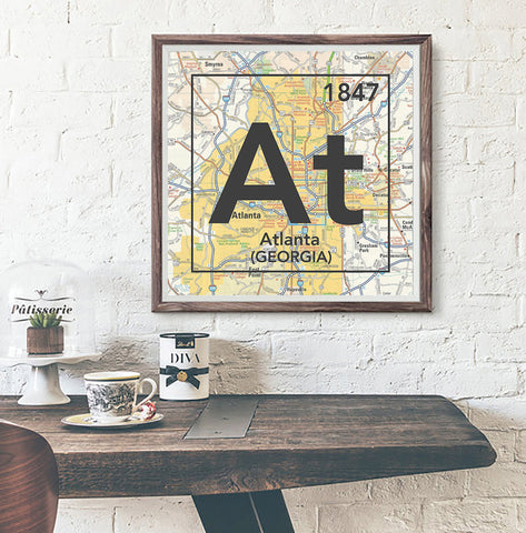 Atlanta Georgia AT- Vintage Periodic Map ART PRINT- unframed