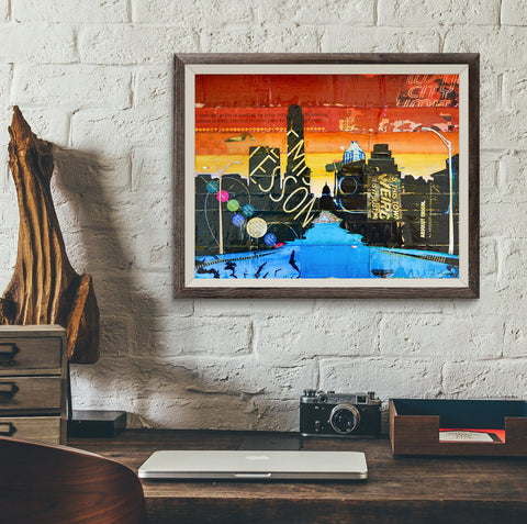 ATX- Austin Cityscape - Danny Phillips Fine Art Print, UNFRAMED, All Sizes