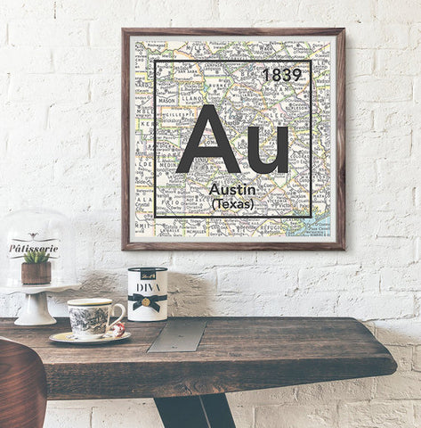 Austin Texas Au- Vintage Periodic Map ART PRINT