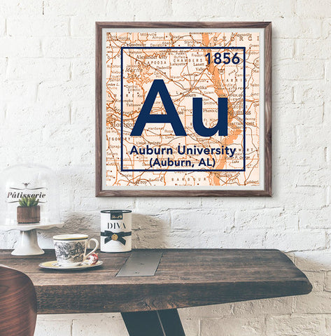 Auburn University Tigers Alabama - Vintage Periodic Map ART PRINT -Unframed
