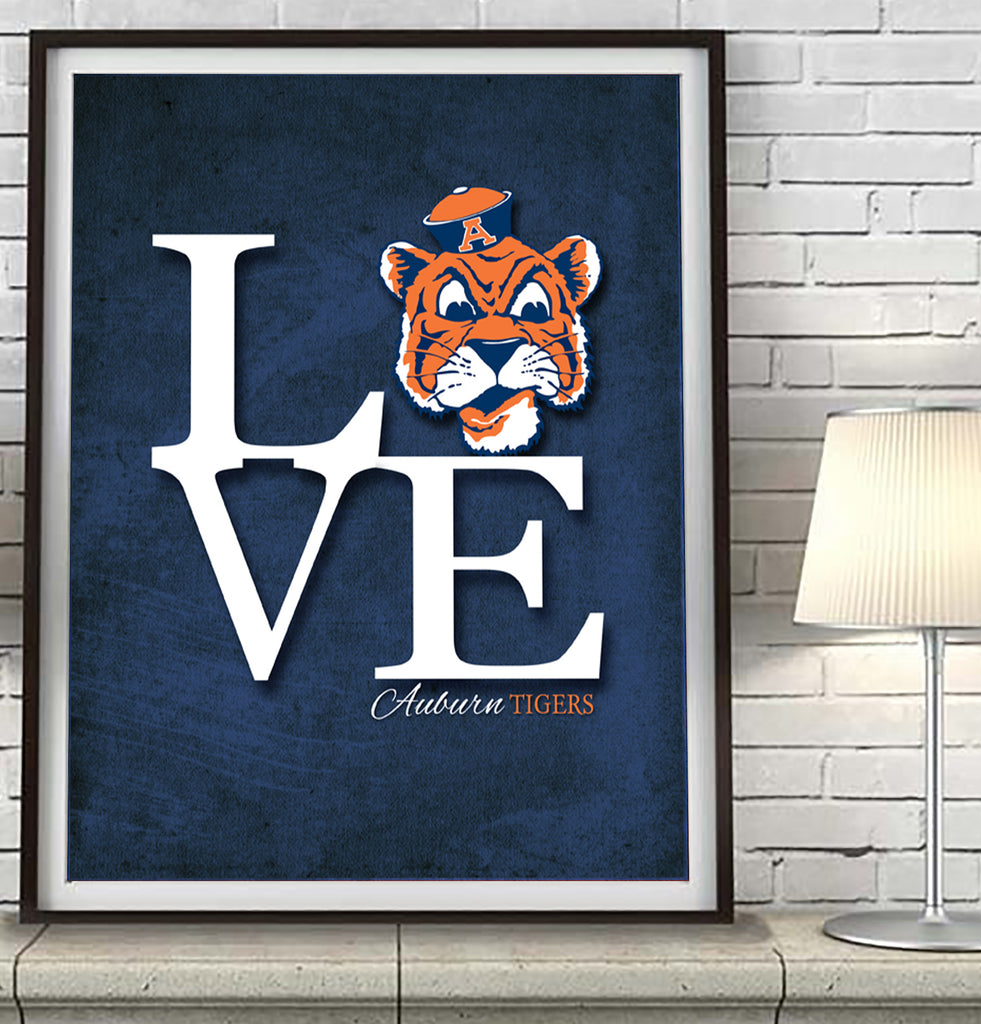 "Auburn Tigers  inspired ""Love"" Art Print Poster Gift"