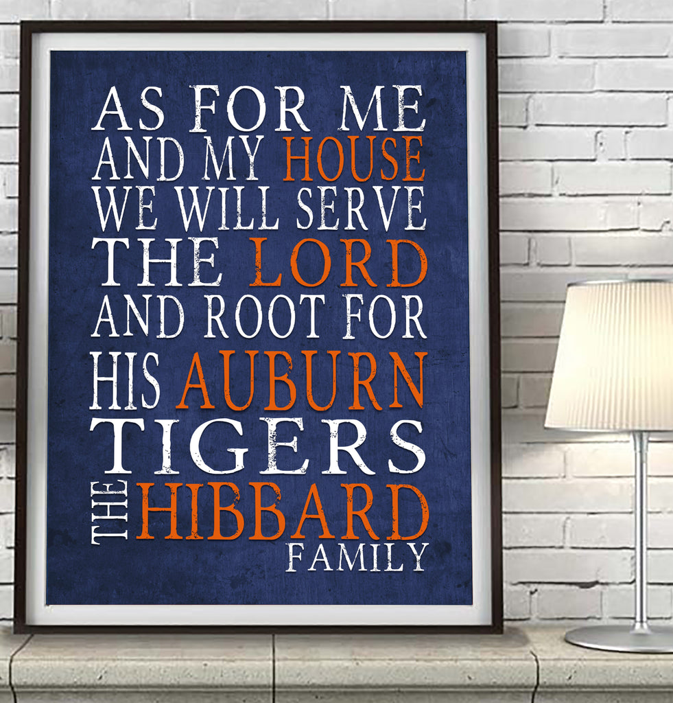 "Auburn University Tigers personalized  ""As for Me"" Art Print"