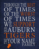 "Auburn Tigers Personalized Art Print- ""Best of Times"" Dickens Parody- Unframed"