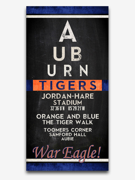 "Auburn Tigers inspired ""Eye Chart"" ART PRINT, Sports Wall Decor, man cave gift for him, Unframed"