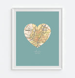 Austin Texas Vintage Heart Map ART PRINT