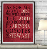 "Arizona Coyotes hockey Personalized ""As for Me"" Art Print"