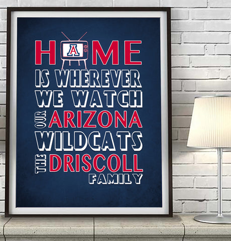 "Arizona Wildcats Personalized ""Home is"" Art Print Poster Gift"