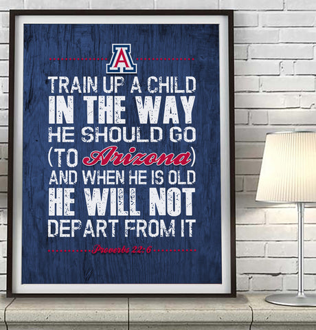 "Arizona Wildcats ""Train Up A Child"" Art Print Poster Gift"