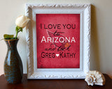 "Arizona Cardinals personalized ""I Love You to Arizona and Back"" ART PRINT - Unframed"