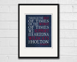 "Arizona Wildcats Personalized ""Best of Times"" Art Print Poster Gift"