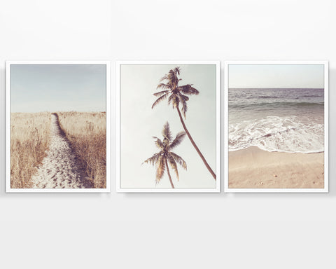 Beach Themed Vintage Photography Prints, Set of 3, Coastal Wall Decor
