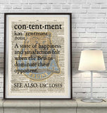 "UCLA Bruins inspired ""Contentment"" ART PRINT Using Old Dictionary Pages, Unframed"