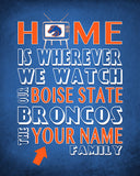 "Boise State Broncos Personalized ""Home Is"" Art Print Poster Gift"