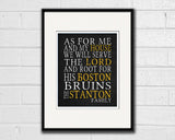 "Boston Bruins hockey inspired Personalized Customized Art Print- ""As for Me"" Parody- Unframed Print"