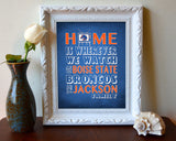 "Boise State Broncos inspired Personalized Customized Art Print- ""Home Is"" Parody- Retro, Vintage-  Unframed Print"