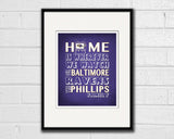 "Baltimore Ravens football Inspired Personalized & Customized ART PRINT- ""Home Is"" Parody Retro Unframed Print"