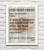"Chicago Bears inspired ""Contentment"" ART PRINT - Christmas poster gift"