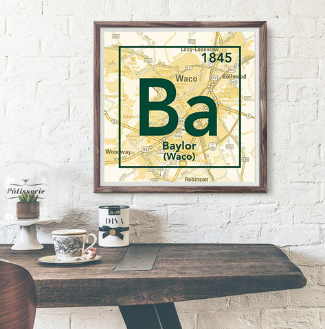 Baylor University Bears Waco Texas - Vintage Periodic Map ART PRINT -Unframed