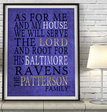 "Baltimore Ravens football Personalized ""As for Me"" Art Print"