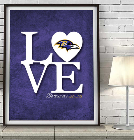 "Baltimore Ravens football ""Love"" Art Print Poster Gift"