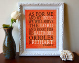 "Baltimore Orioles baseball Personalized ""As for Me"" Art Print"