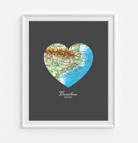 Barcelona Spain Vintage Heart Map - Custom Colors - Couples - Wedding - Engagement -Anniversary -Christmas- Family gift UNFRAMED ART PRINT