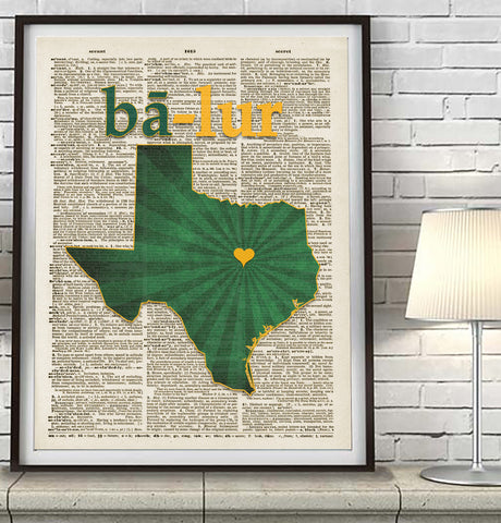 Baylor Bears Phonetic Art Print - Christmas poster gift