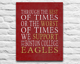 "Boston College Eagles Personalized Customized Art Print- ""Best of Times"" Parody- Charles Dickens-  Unframed Print"