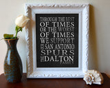 "San Antonio Spurs basketball inspired Personalized Customized Art Print- ""Best of Times"" Parody- Charles Dickens-  Unframed Print"