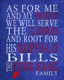 "Buffalo Bills football inspired Personalized Customized Art Print- ""As for Me"" Parody- Unframed Print"