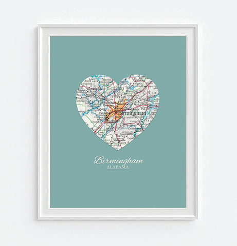 Birmingham Alabama Vintage Heart Map - Custom Colors - Couples - Wedding - Engagement -Anniversary -Christmas- Family gift UNFRAMED ART PRINT