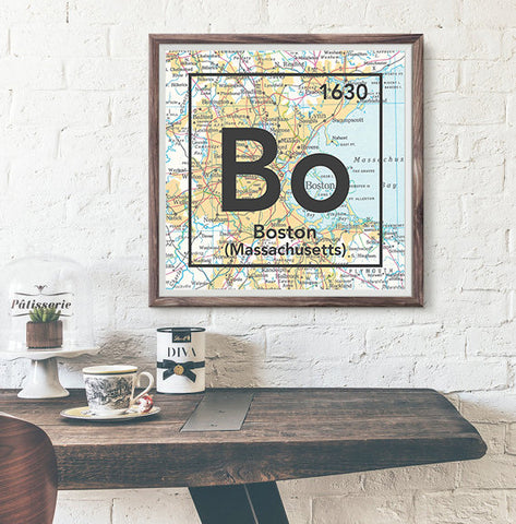 Boston Massachusetts Bo- Vintage Periodic Map ART PRINT- unframed