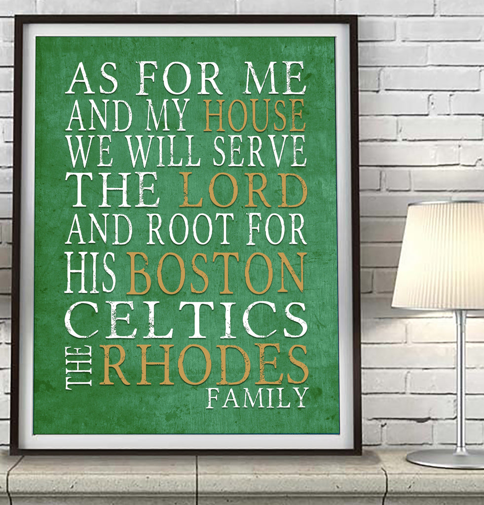 "Boston Celtics basketball Personalized ""As for Me"" Art Print"