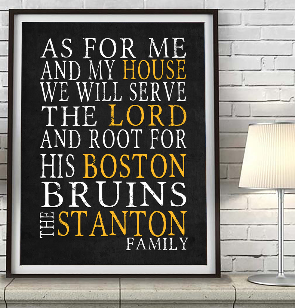 "Boston Bruins hockey Personalized ""As for Me"" Art Print"