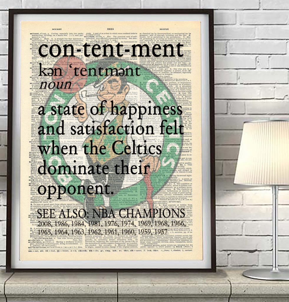 "Boston Celtics ""Contentment"" Art Print - Christmas poster gift"