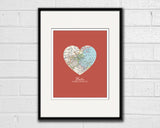 Boston Massachusetts Vintage Heart Map ART PRINT