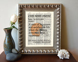 "Cleveland Browns inspired ""Contentment"" ART PRINT Using Old Dictionary Pages, Unframed"