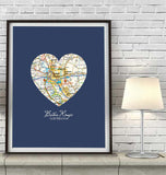 Baton Rouge Louisiana Vintage Heart Map - Custom Colors - Couples - Wedding - Engagement -Anniversary -Christmas- Family gift UNFRAMED ART PRINT