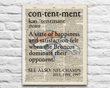 "Denver Broncos inspired ""Contentment"" ART PRINT Using Old Dictionary Pages, Unframed"