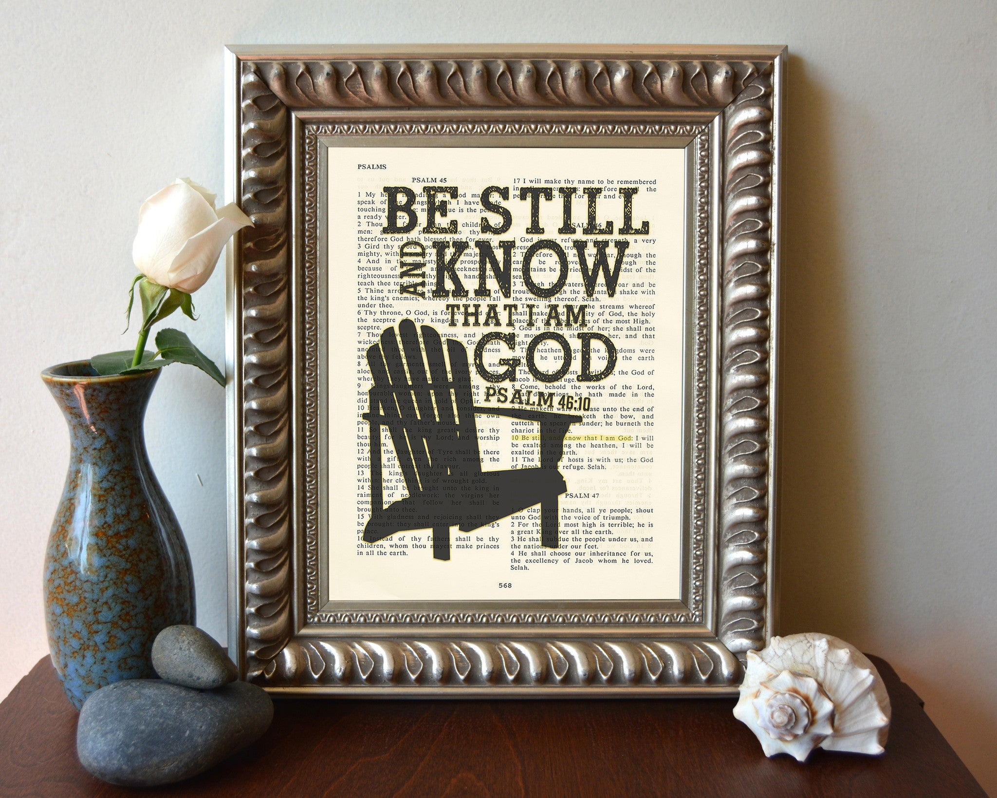 Be Still and Know that I am God- Psalms 46:10-Vintage Bible Page ...