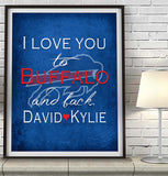 "Buffalo Bills personalized ""I Love You to Buffalo and Back"" Art Print Poster Gift"
