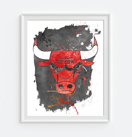 Chicago Bulls Basketball Watercolor Art Print Poster Gift