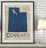 Brigham Young BYU Cougars Art Print - Christmas poster gift