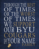 "BYU Cougars Brigham Young Personalized ""Best of Times"" Art Print Poster Gift"