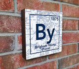 BYU Cougars- Periodic Map art print on Wooden Block